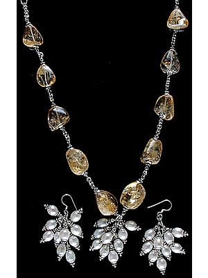 Citine Nuggets Necklace with Pearl and Earrings Set