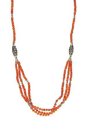 Carnelian Israel Cut Beaded Bunch Necklace