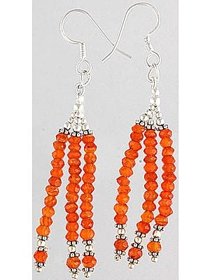 Faceted Carnelian Shower Earrings