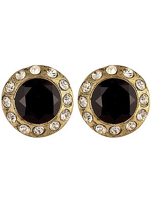 Black Victorian Post Earrings with Cut Glass