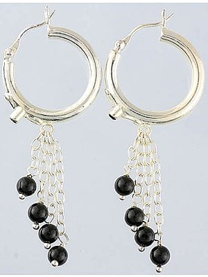 Black Onyx Hoop Chandeliers
