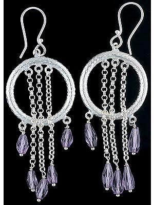 Dangling Drop Faceted Amethyst Hoop Earrings