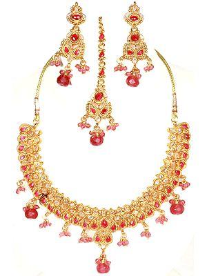 Rani Polki Necklace Set with Cut Glass