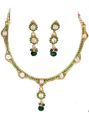 Faux Emerald Polki Necklace and Earrings Set with Cut Glass