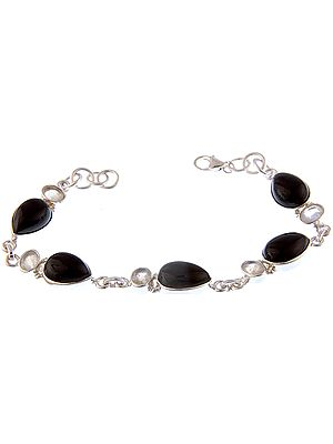 Black Onyx Bracelet with Rainbow Moonstone