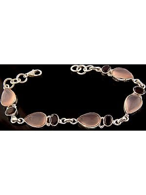 Rose Quartz Bracelet with Garnet
