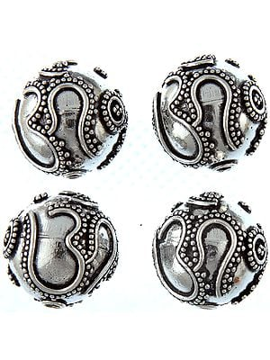 Fine Hand-Crafted Beads Marked with Hari Om (Price Per Pair)