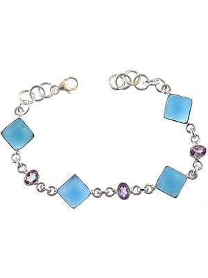 Blue Chalcedony Bracelet with Amethyst