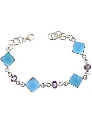 Blue Chalcedony Bracelet with Amethyst