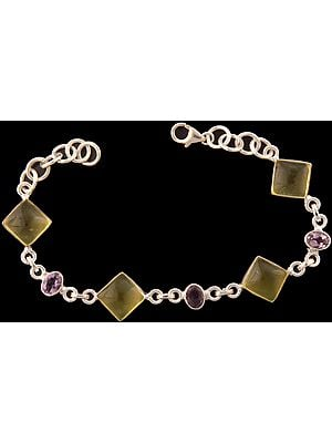 Lemon Topaz Bracelet with Amethyst