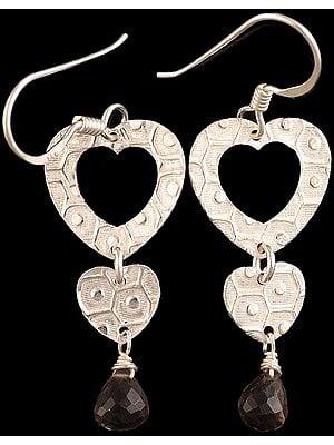 Faceted Smoky Quartz Drop Valentine Earrings