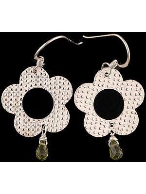 Sterling Earrings with Dangling  Peridot Drop