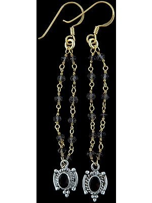 Faceted Iolite and Smoky Quartz Earrings