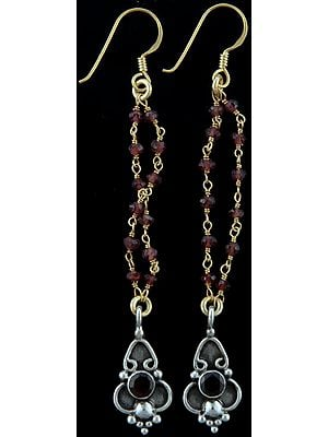 Faceted Garnet Gold Plated Shower Earrings