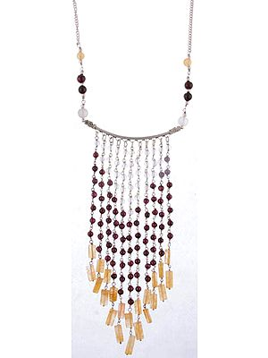 Gemstone Chandelier Necklace (Yellow Aventurine, Garnet and Rose Quartz)