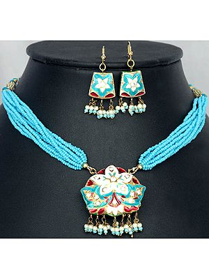 Turquoise Star-Spangled Necklace and Earrings with Peacocks on Reverse
