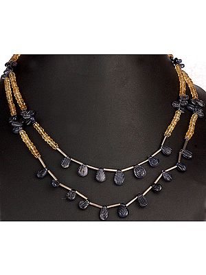 Faceted Citrine Beaded Necklace with Carved Iolite