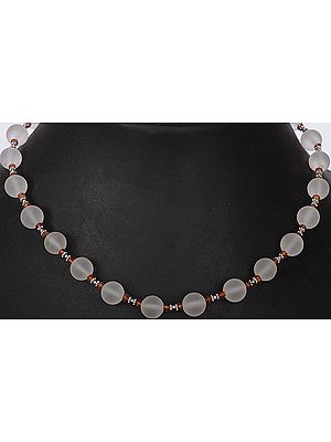 Frosted Crystal Beaded Necklace Fanta Garnet