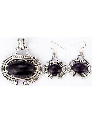 Amethyst Pendant with Earrings Set