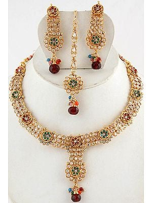 Polki Floral Necklace with Earrings and Mang Tika Set