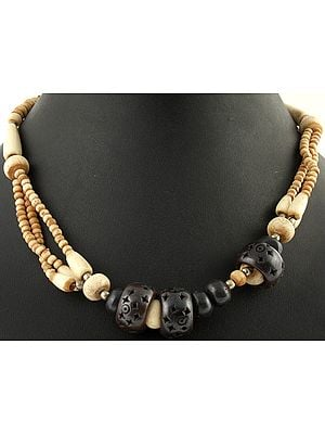 Ivory and Coffe Brown Beaded Necklace
