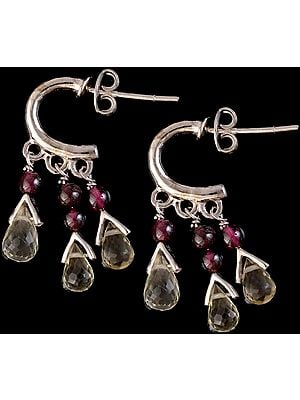 Garnet and Faceted Green Amethyst Earrings