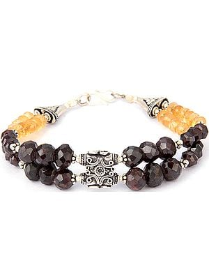 Faceted Citrine and Garnet Beaded Bracelet