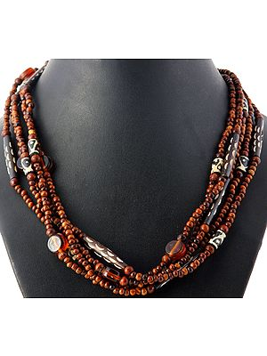 Multi-strand  Beaded Brown Necklace