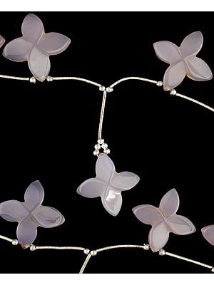 Carved Blue Chalcedony Flowers