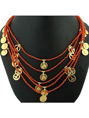 Carnelian Necklace with Gold Plated Charms