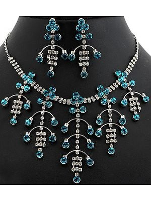 Blue Cut Glass Victorian Necklace with Earrings