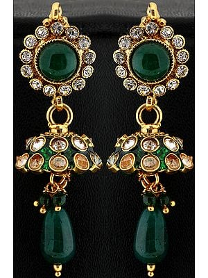 Green Color Earrings with Charm
