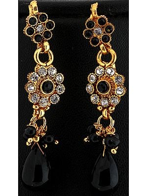 Faux Black Onyx Polki Earrings