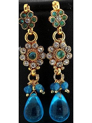 Polki Earrings with Glass