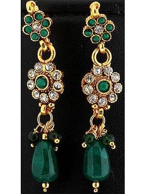Faux Emerald Polki Earrings