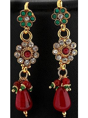 Faux Emerald and Ruby Polki Earrings