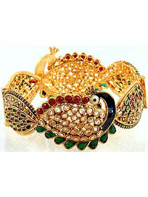Polki Bracelet with Peacock