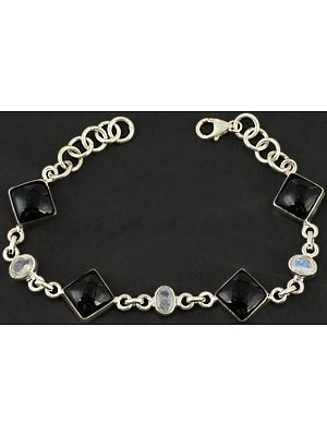 Black Onyx and Faceted Rainbow Moonstone Bracelet