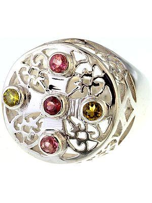 Faceted Tourmaline Lattice Ring
