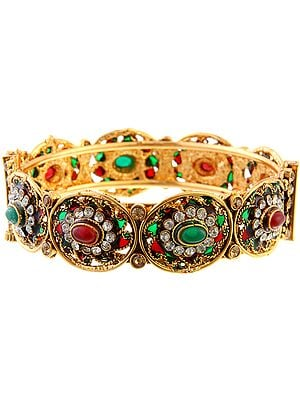 Polki Bracelet Faux Ruby and Emerald with Screw Clasp