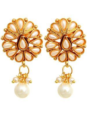 Faux Pearl Polki Earrings