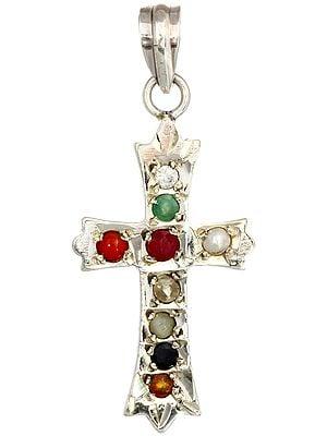 Navaratna Cross Pendant