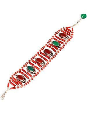 Bracelet with Carnelian and Green Onyx