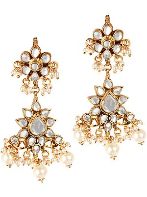 Kundan Earrings with Faux Pearl