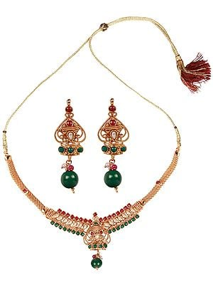 Polki Necklace Set with Faux Ruby, Emerald and Pearl