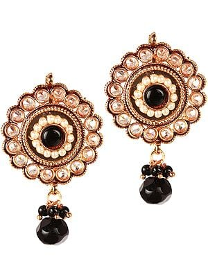 Black Polki Earrings with Faux Pearl