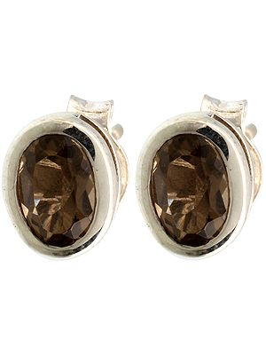 Faceted Smoky Quartz Post Earrings