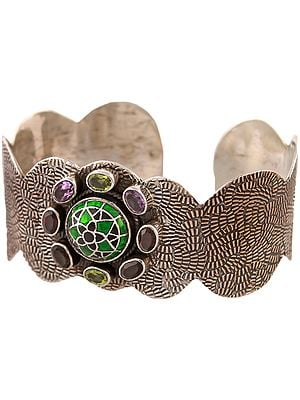 Three Gemstones Cuff Bracelet with Meenakari