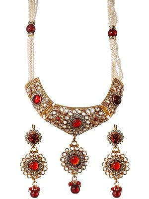 Garnet-Red Polki Necklace Set with Faux Pearl
