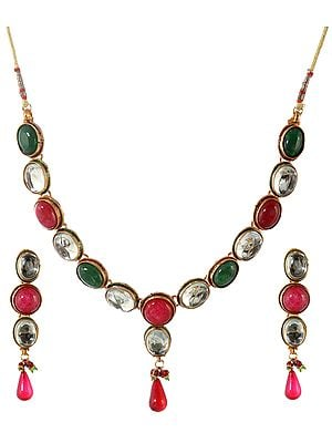 Faux Ruby and Emerald Necklace Set with Crystal